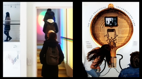 Students Walk Through Color Temperature Stairway (left) and Start at the Bottom of the History of Light Stairwell (right)