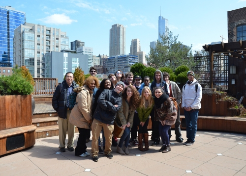 Global Classrooms of Chicago - Students on the Lightology Roof Deck