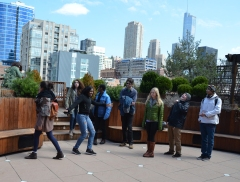 Global Classrooms Students Enjoying Lightology's Roofdeck