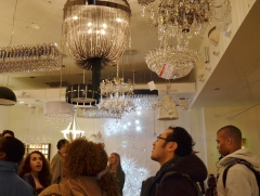 Global Classrooms students admire some chandeliers at Lightology
